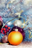 Christmas balls on wood closeup.New Year decorations with empty Royalty Free Stock Images