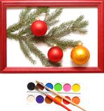 Christmas balls in wood frame Stock Images