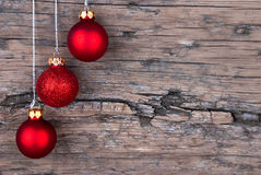 Christmas Balls on Wood stock image