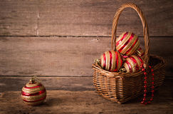 Christmas balls on wooden background Royalty Free Stock Photo