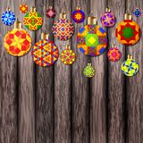 Christmas balls on wooden background. Colorful Christmas balls on wooden background Royalty Free Stock Photography