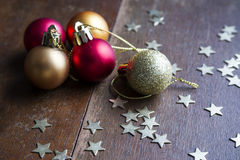 Christmas balls on wooden background Royalty Free Stock Images
