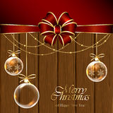 Christmas balls on wooden background Royalty Free Stock Photos