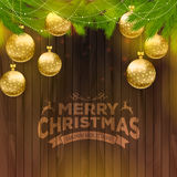 Christmas balls on wooden background. Vector illustration of Christmas balls on wooden background Stock Photo