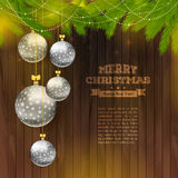 Christmas balls on wooden background. Vector illustration of Christmas balls on wooden background Stock Illustration