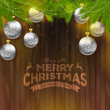 Christmas balls on wooden background. Vector illustration of Christmas balls on wooden background royalty free illustration