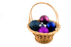 Christmas balls in wooden basket Royalty Free Stock Photo