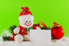 Christmas balls and wool snowman Royalty Free Stock Image