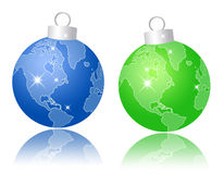Christmas balls with World map Royalty Free Stock Photography
