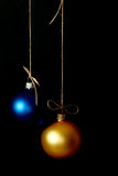 Christmas balls of yellow and blue Royalty Free Stock Photos