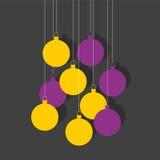 Christmas balls. Yellow and Purple flat Christmas balls Stock Photos