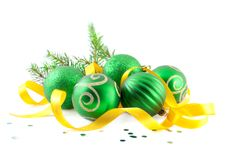 Christmas balls with yellow tape Stock Photography
