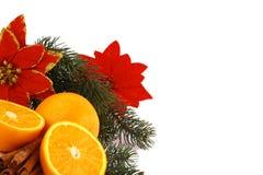Christmas ballsand orange Stock Photos