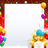 Christmas Baloons. Colorful party balloons with falling streamers and gift box Royalty Free Stock Images
