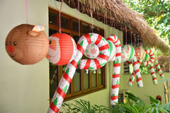 Christmas baloons decoration under the roof Stock Photography