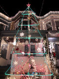 Christmas in Baltimore. Photo of house in Baltimore Maryland decorated with Christmas lights royalty free stock photography