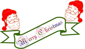 Christmas banner. With santa in white background Stock Images