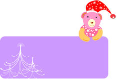 Christmas banner. With cute teddy and trees Stock Images