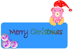 Christmas banner. With ball and cute teddy Stock Photo