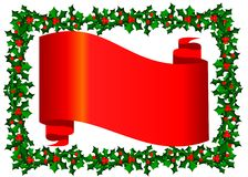 Christmas banner. With holly border Stock Photography