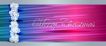Christmas banner. With white snowflakes. Vector illustration Stock Photos