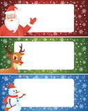Christmas banner. Set of christmas banner with a santa, a deer and a snowman Royalty Free Stock Photo