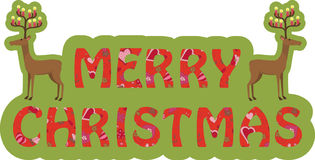 Christmas banner. Text Merry Christmas and two funny deers Stock Photo