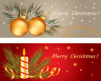 Christmas banner. Set with holiday elements Royalty Free Stock Photo