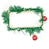 Christmas banner. Green and gold Christmas blank framed banner with red balls Stock Image