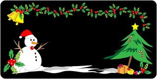 Christmas banner. Christmas cartoon illustration on black background Stock Photo