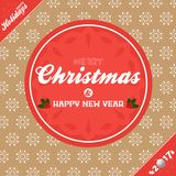 Christmas banner background brown and red. Merry Christmas and Happy New Year Twenty Eighteenth Banner with Decorative Text and Date with Holly Over Brown Stock Photography