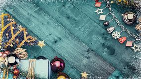 Christmas banner background with copy space. 3d render and illustration Royalty Free Stock Image