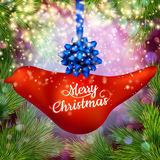 Christmas banner with baubles. EPS 10. Christmas banner with baubles, fir tree, copyspace. EPS 10 vector file included Stock Photos
