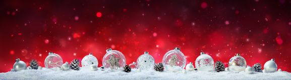 Christmas Banner - Baubles And Pine Cones Stock Photography