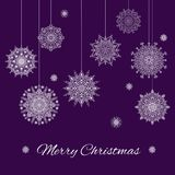 Christmas Banner With Beautiful Ornamental Snowflakes On The Violet Background. Christmas Banner With Snowflakes And Text On The Violet Background Stock Photography