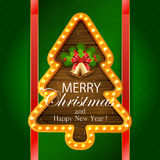 Christmas banner with bells on green background Royalty Free Stock Photo