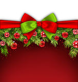 Christmas Banner with Bow Ribbon, Fir Twigs Royalty Free Stock Photo