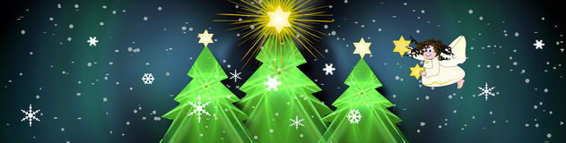 Christmas Banner With Bright Stars Stock Image