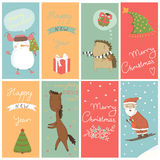 8 Christmas banner with cartoon characters. Happy holidays Stock Images