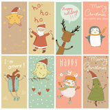 8 Christmas banner with cartoon characters Royalty Free Stock Images
