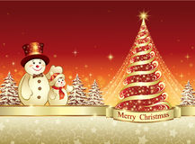 Christmas banner with Christmas tree and snowman. Christmas banner with shiny Christmas tree and snowman on a red background Stock Photo
