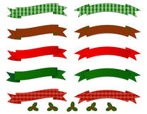 Christmas Banner Collection. Set of simple Banners in red and green gradients and plaid patterns Royalty Free Stock Photos