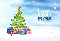 Christmas Banner With Copy Space Decorated Fir Tree With Presents On Background. Flat Vector Illustration Royalty Free Stock Image