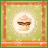 Christmas banner with cupcake Stock Photo