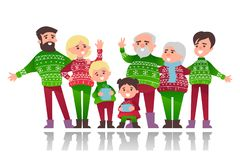 Christmas banner with cute cartoon characters. Of family in warm clothes with prints of snowflakes Royalty Free Stock Photos