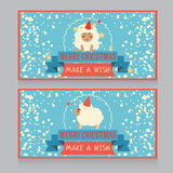 Christmas banner with cute sheep and snow Royalty Free Stock Photos