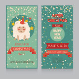 Christmas banner with cute sheep and snow Royalty Free Stock Photography