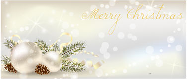 Christmas banner with decoration Stock Images