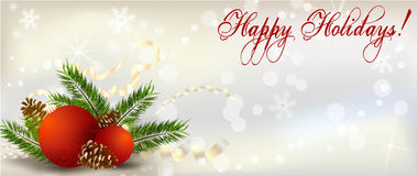 Christmas banner with decoration Royalty Free Stock Image