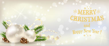 Christmas banner with decoration Stock Photos